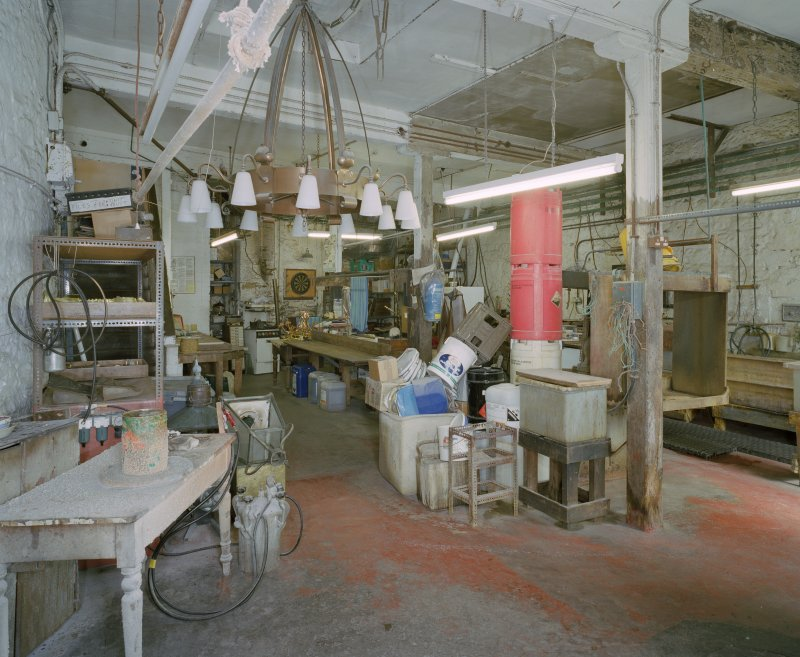 Interior. Lower ground floor. View of workshop from SSW