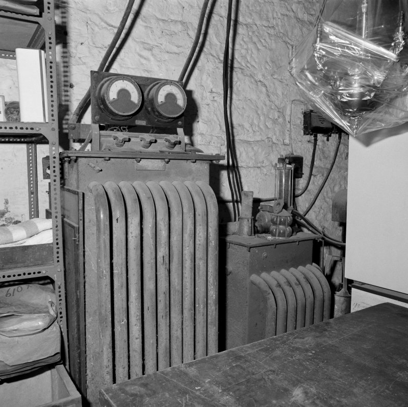Interior. Lower ground floor. Workshop. Detail of DC rectifiers