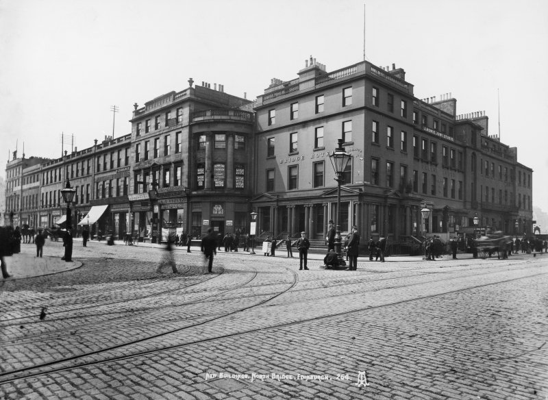 View of the junction of North Bridge and Princes Street, Edinburgh c1895. Now the site of the Balmoral Hotel.