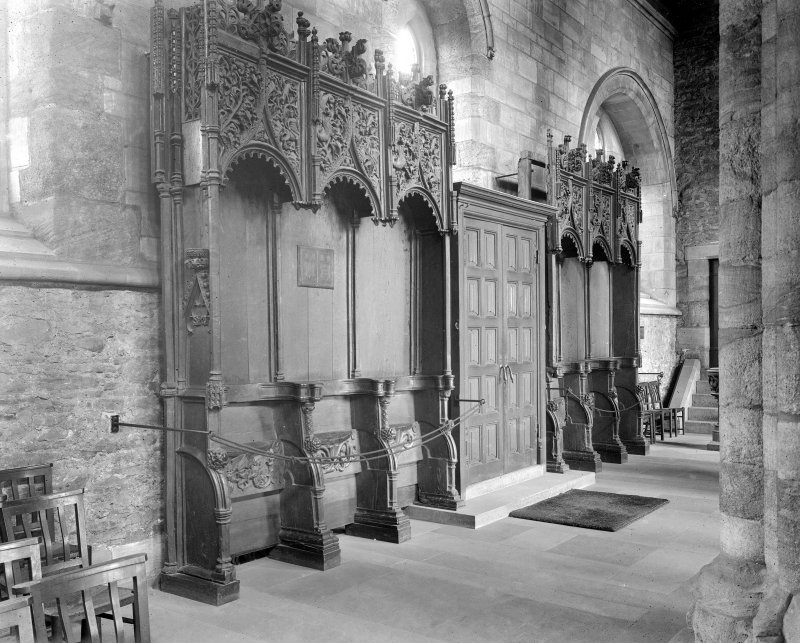Interior. Choir, view of stalls.