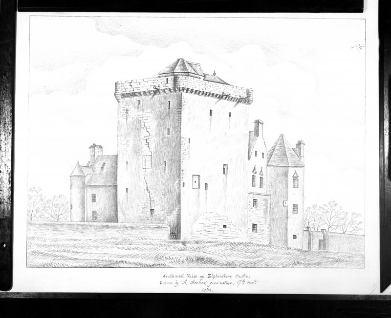 Photographic copy of a drawing showing general view from SW.