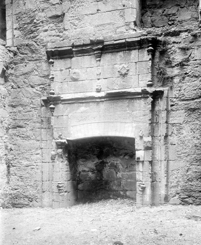 Carnassarie Castle, interior. General view of fireplace.