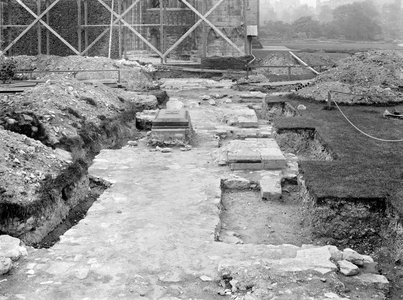 View of foundations and tombstones uncovered during excavations at Holyrood Abbey