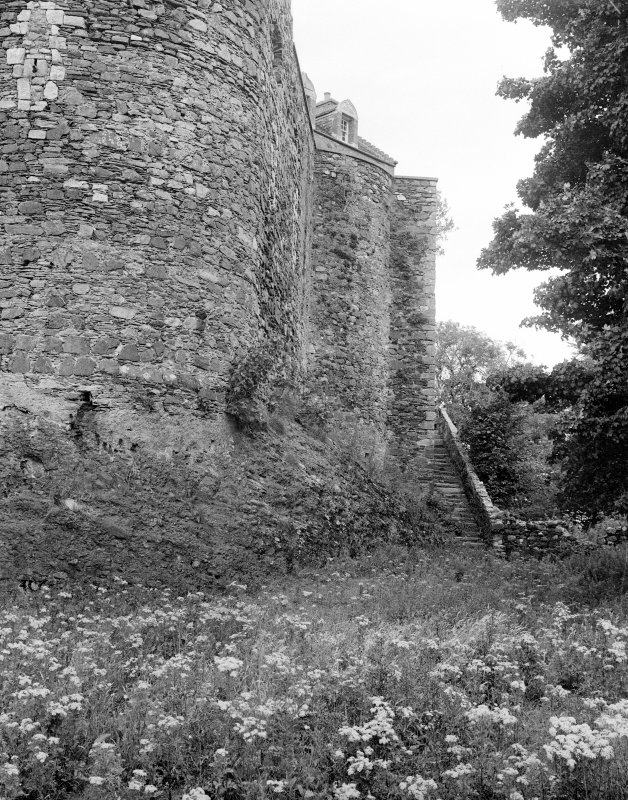 Dunstaffnage Castle. View of South-East curtain wall.