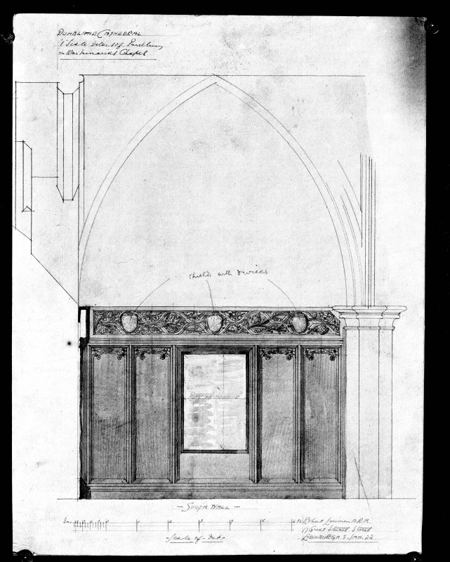 Photographic copy of drawing showing detail of panelling in war memorial.