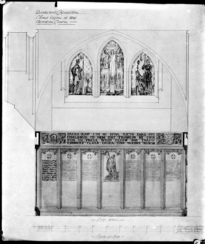 Photographic copy of drawing showing detail of panelling in war memorial, Dunblane Cathedral.