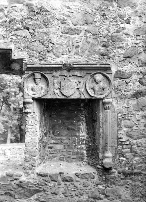 Huntly Castle, fireplace in west room.