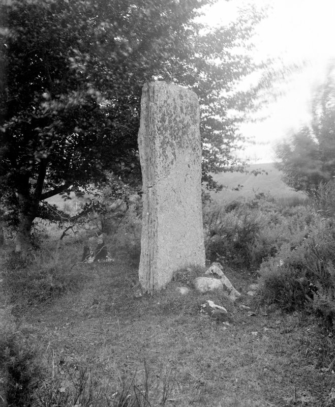 View of standing stone at north-east cairn.