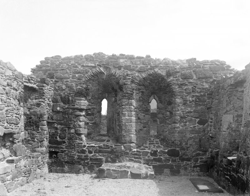 Mull, Inchkenneth Chapel, interior. View of windows in East end.