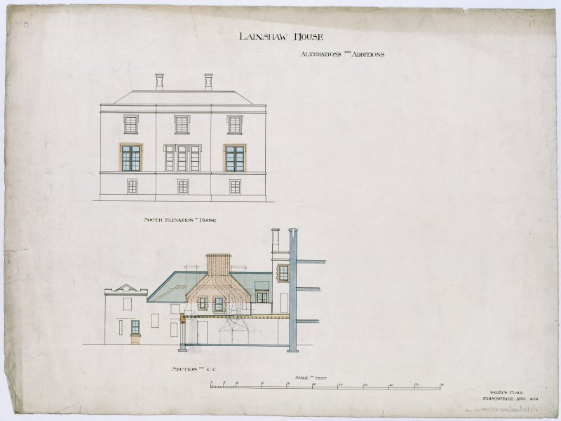 Drawing showing section and South elevation with alterations and additions.