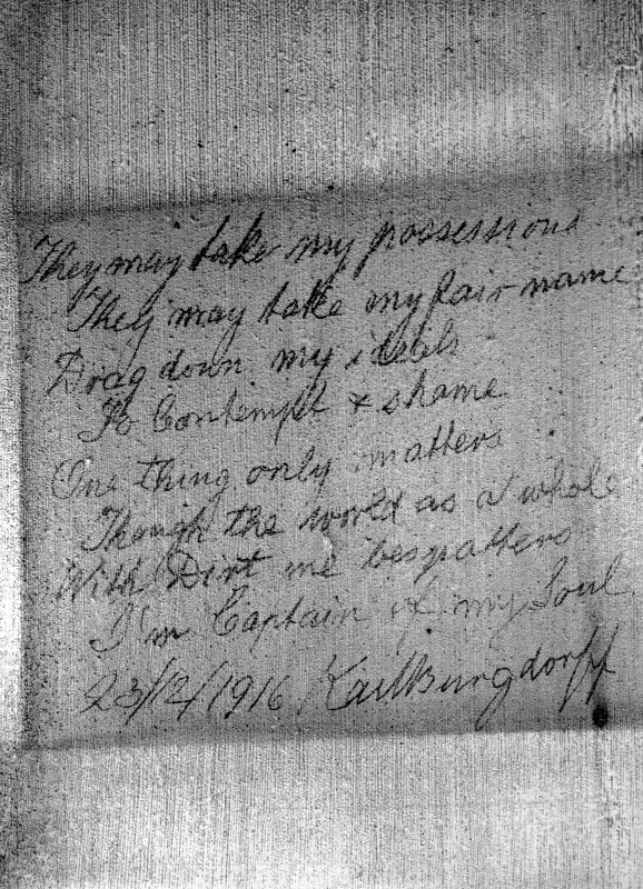 "Detail of graffiti by WWI prisoner of war.  Signed and dated ""20/2/1916 Karlsburgdoff"""