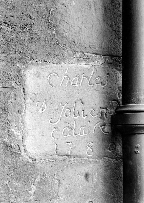Inscription cut on doorway to dungeons by a French prisoner in 1780.