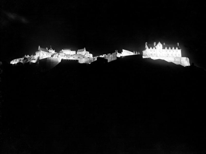 View of Edinburgh Castle at night from Princes Street.