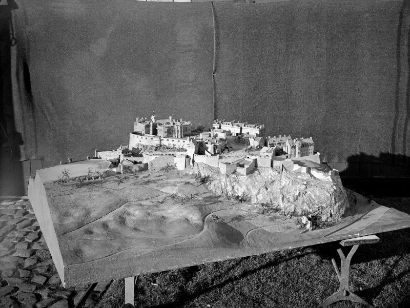 View of model of castle from North