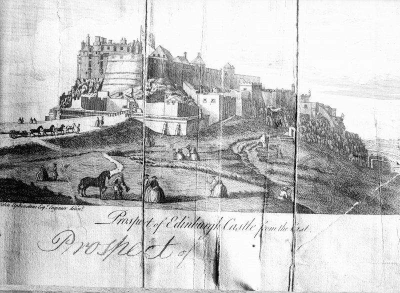 Prospect of Edinburgh Castle from east, drawn by John Elphinstone, Engineer