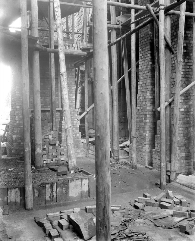 Interior. View of brick pier construction.