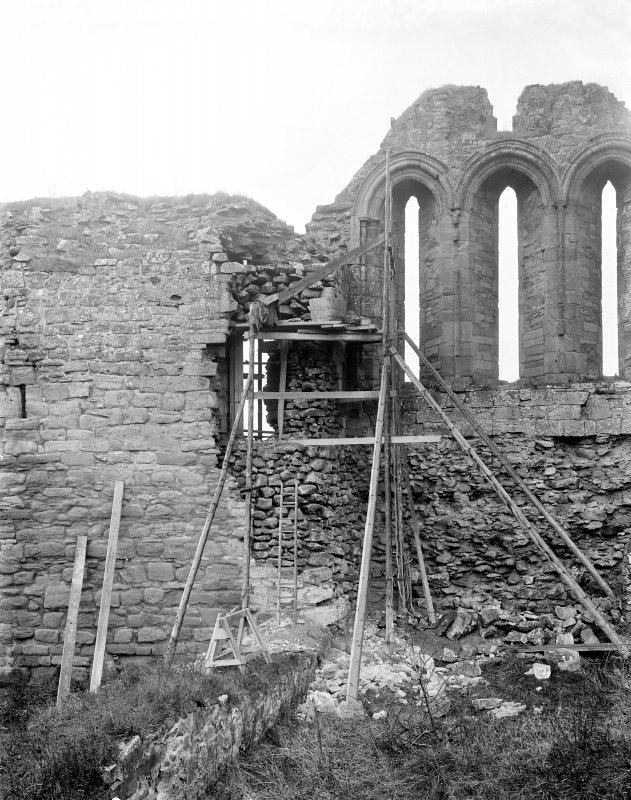 Interior. View of chapel looking E showing repointing/consolidation.