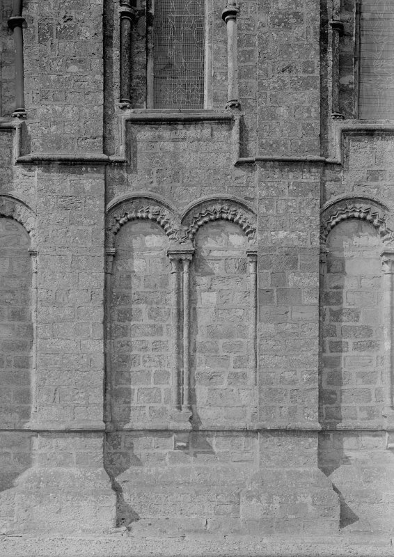Coldingham Church. Detail of wall arcade, east end.