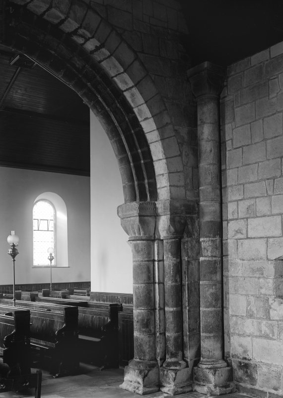 Interior. Detail of N respond of chancel arch.