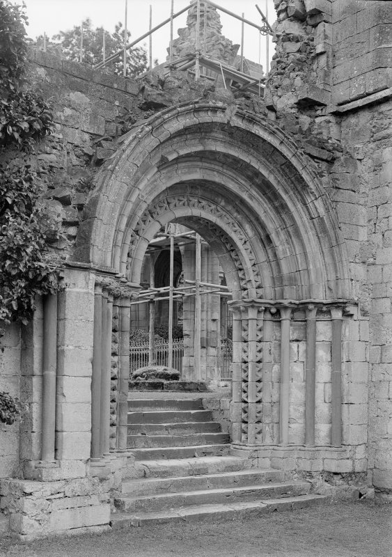 Detail of archway in cloister NW angle.