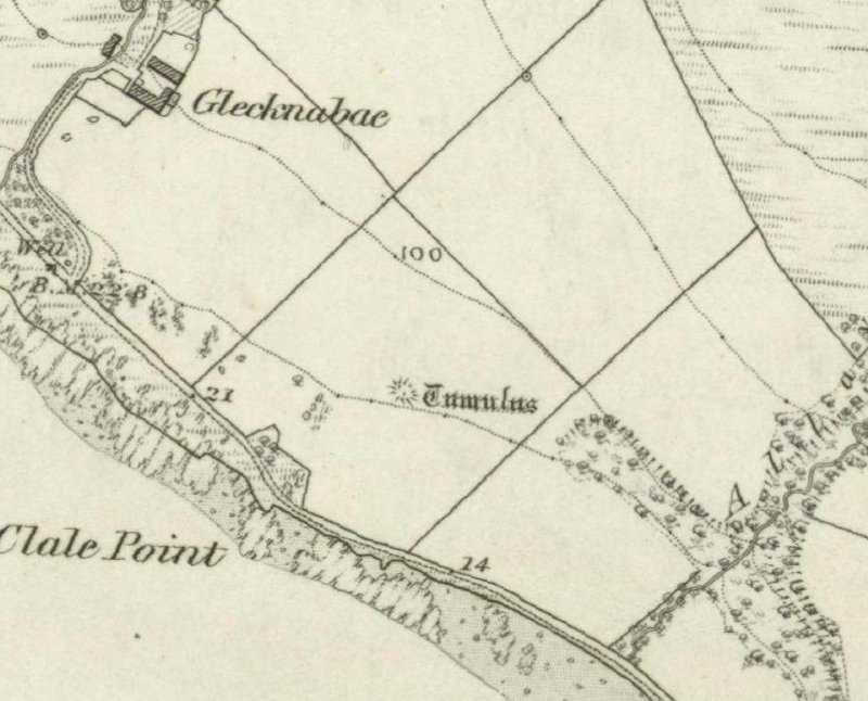 Extract of the OS 1st edition map showing Glecknabae chambered cairn.