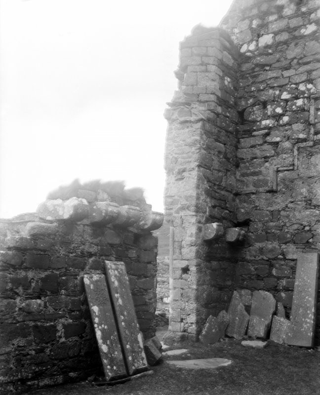 Iona, Iona Nunnery. Interior view of South-West angle of nave showing corbel detailing.