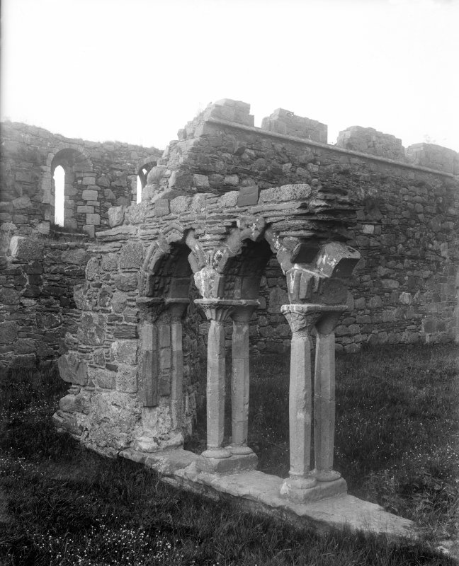 Iona, Iona Abbey. View of remaining section of cloister arcade prior to restoration.