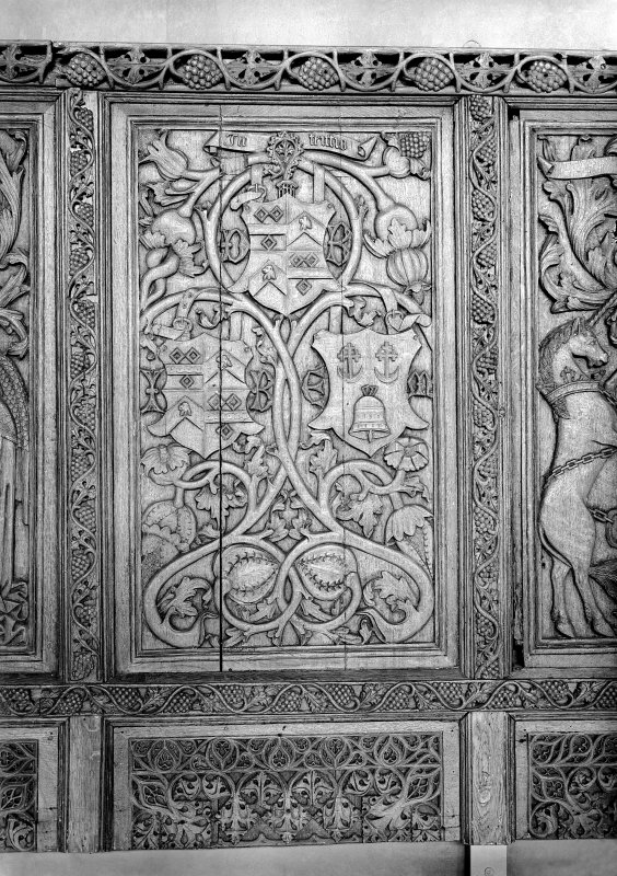 Detail of Beaton Panel depicting the arms and initials of Cardinal Beaton.