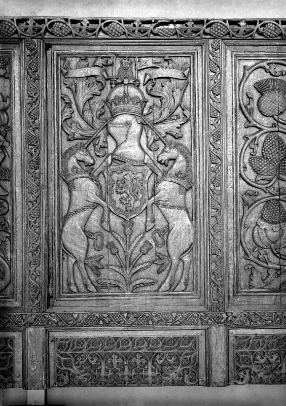 Detail of Beaton Panel depicting Scottish arms and thistle.