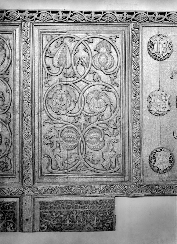 Detail of Beaton Panel decorated with plant designs.