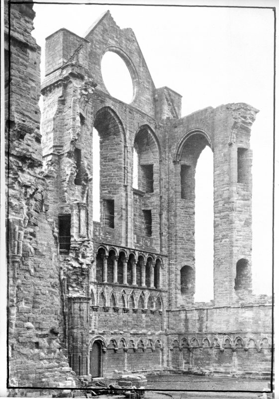 Historic photographic interior view of S transept from N.