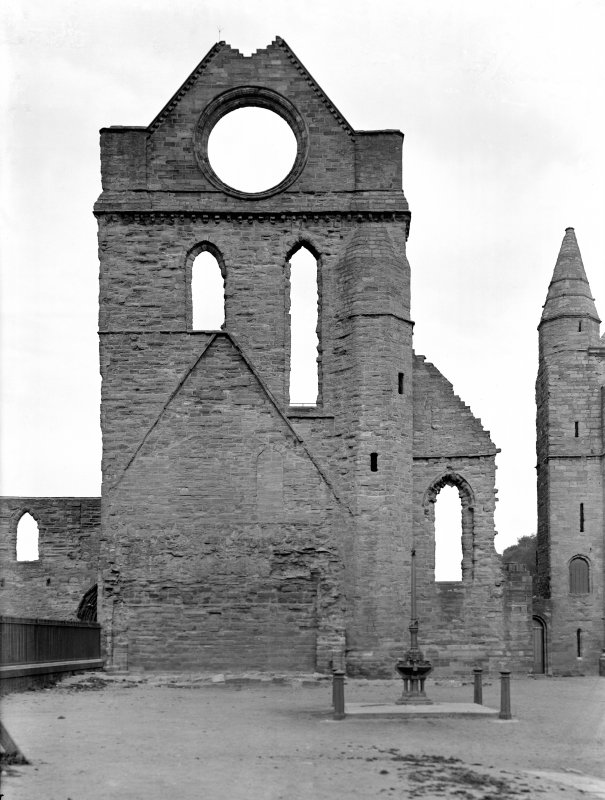 Historic photographic view of S transept from S.