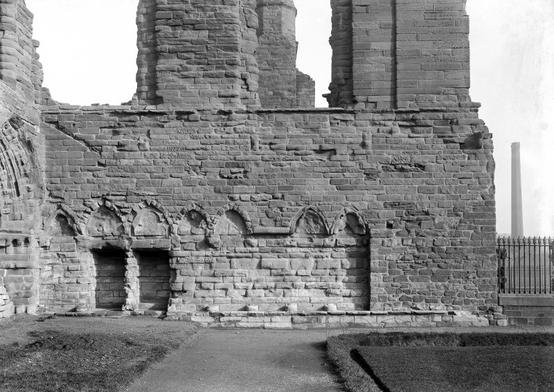 Historic photographic detail of arcading in W wall of S transept.