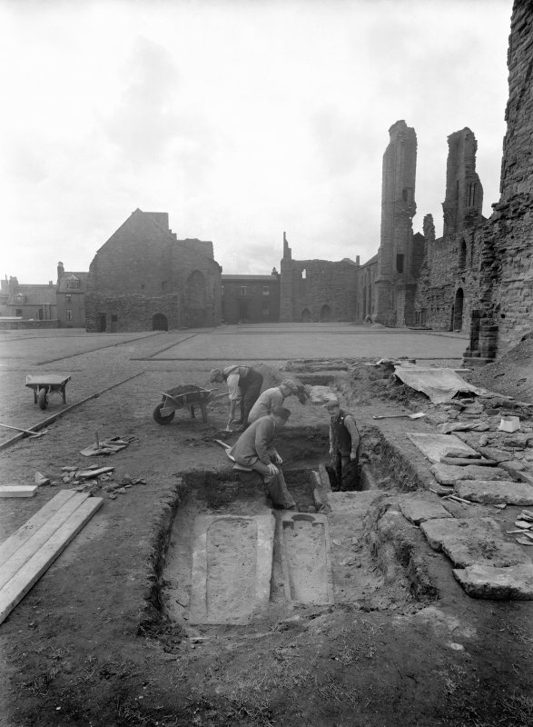 View of excavated grave, Arbroath Abbey