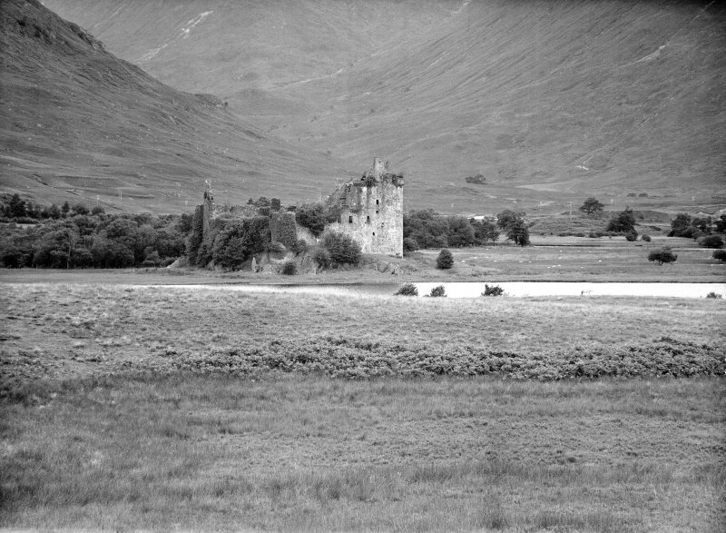 Distant view of castle and Loch Awe.