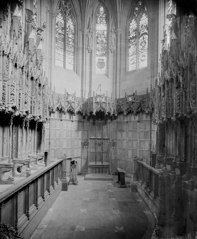 Interior-detail of stalls in Thistle Chapel