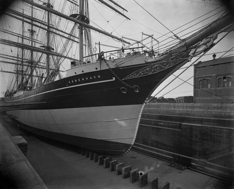 Kobenhaven: View of ship in dry dock. Built by Ramage and Feguson for the Danish East Asiatic Company.