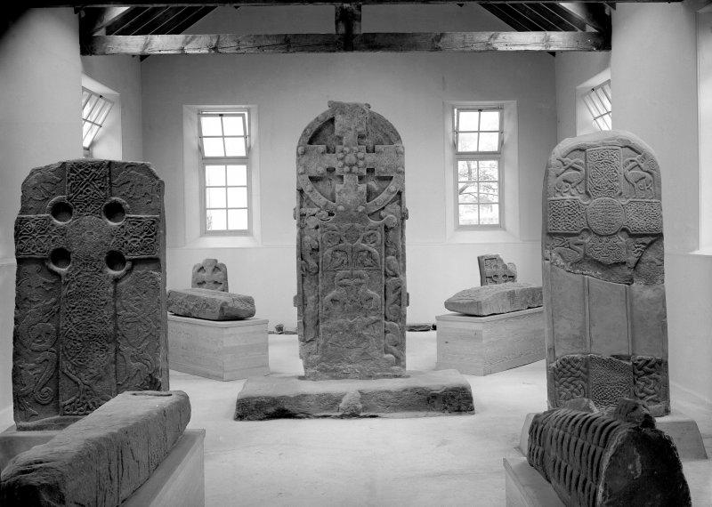 Meigle Museum Pictish cross slabs and hogback stone.