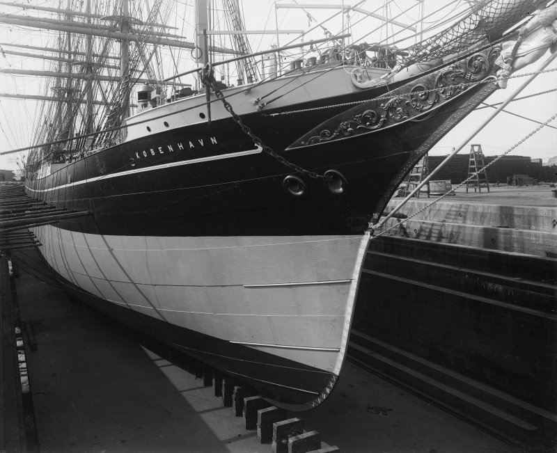 Kobenhavn: View of ship in dry dock. Built by Ramage and Feguson for the Danish East Asiatic Company.