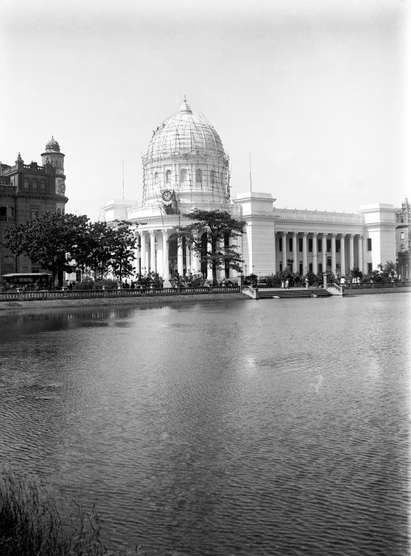 General Post Office with scaffolded dome, Kolkata.  Scaffolding possibly for the erection of lights celebrating the British royal visit, 1912.