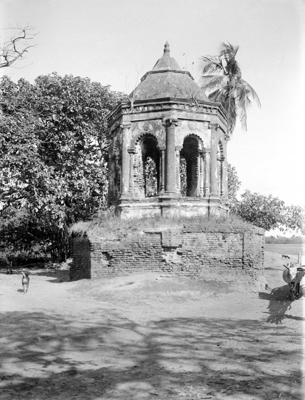 Small temple or shrine built in the Bengali style.  Unknown location.