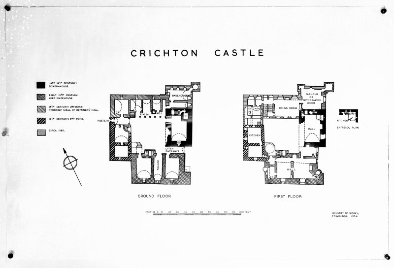 Photographic copy of drawing showing plans of Crichton Castle