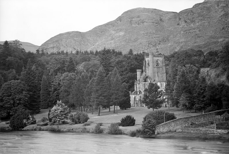 Dunkeld, Dunkeld Cathedral. View of Cathedral from South-East across river.