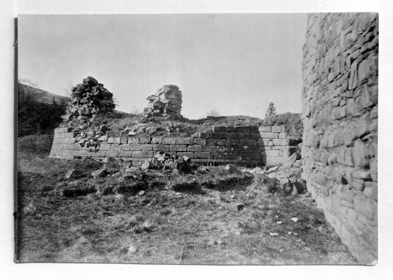 Copy of old photograph showing view of ruins of Donjon (Snow Tower).