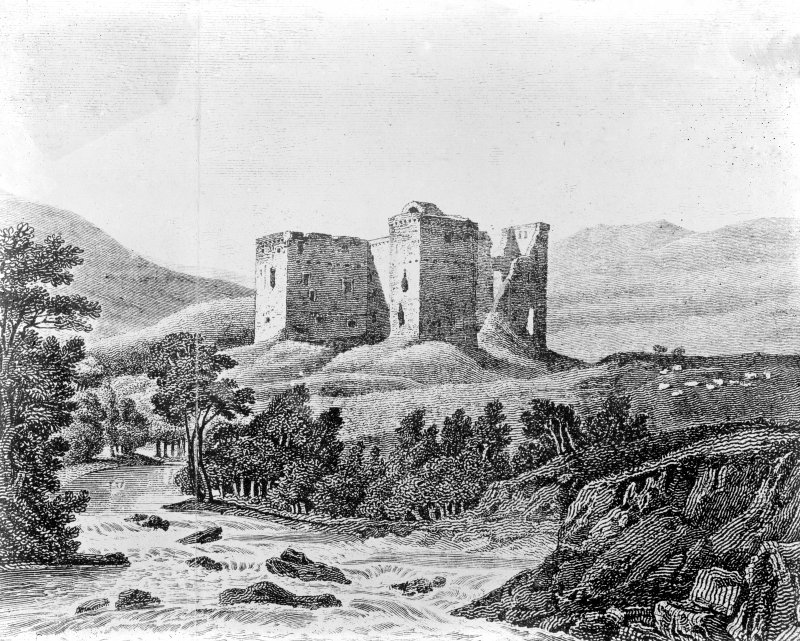 Hermitage Castle. Photographic copy of etching showing ruin.