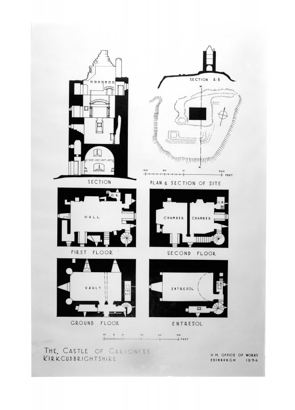 Photographic copy of drawing showing plan and section.