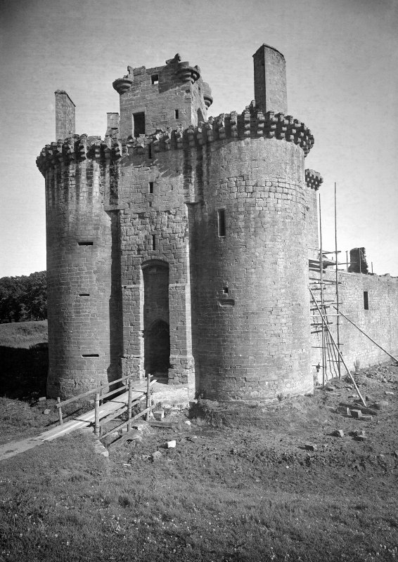Caerlaverock Castle. View of entrance towers and gatehouse from North West.