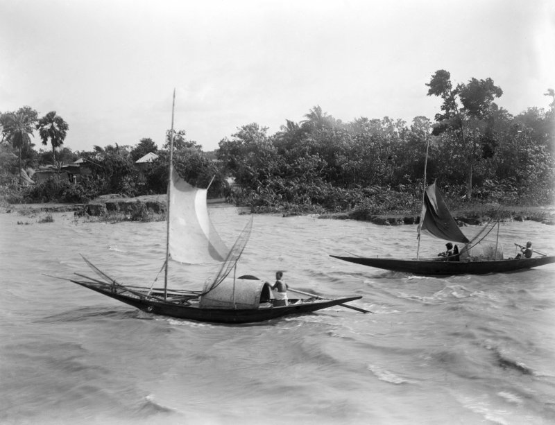 Fishing boats.  Unknown location, possibly the Salt Lakes to east of Kolkata or the Sundarbans to the south.