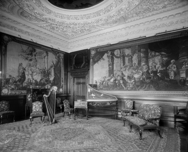 Interior-general view of Music Room (Middle State Room) in Holyrood Palace, with piano and harp