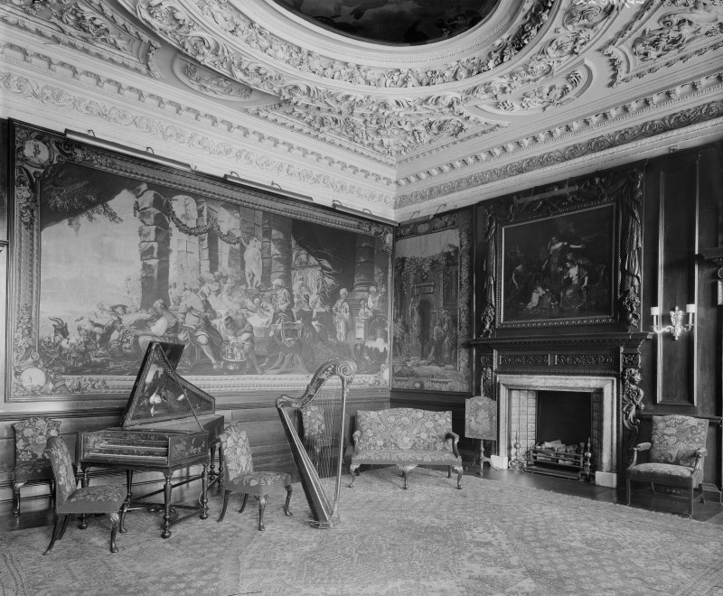 Interior view of Music Room (Middle State Room) in Holyrood Palace, Edinburgh, with harp and piano.